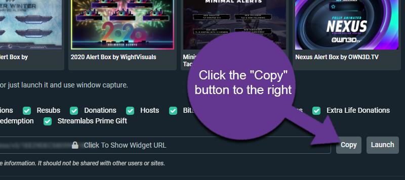Copy Alerts URL