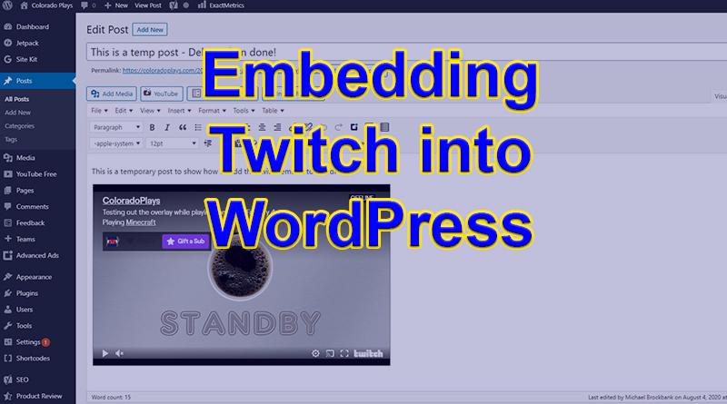 Embed Twitch in WordPress