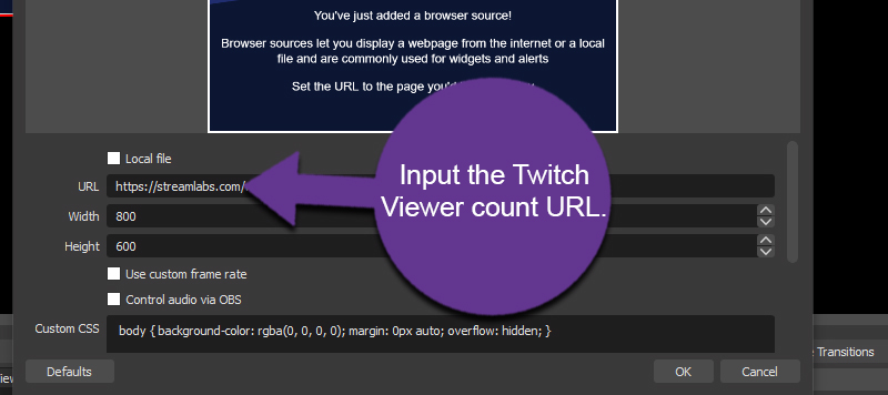 Add Twitch Viewer URL