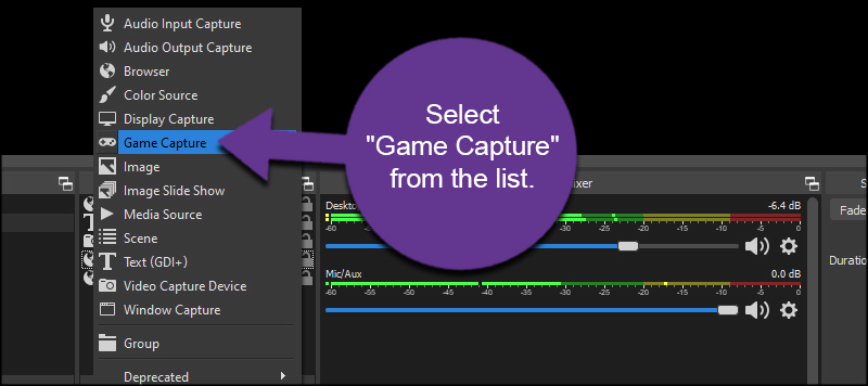 Select Game Capture OBS