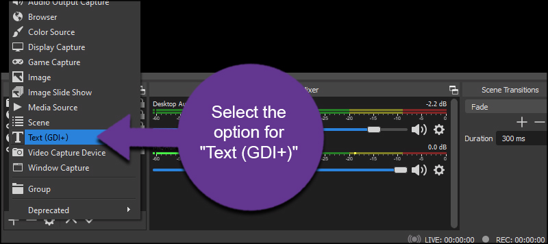 Select Text Source OBS