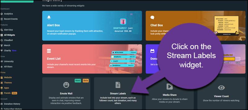 Stream Labels Widget