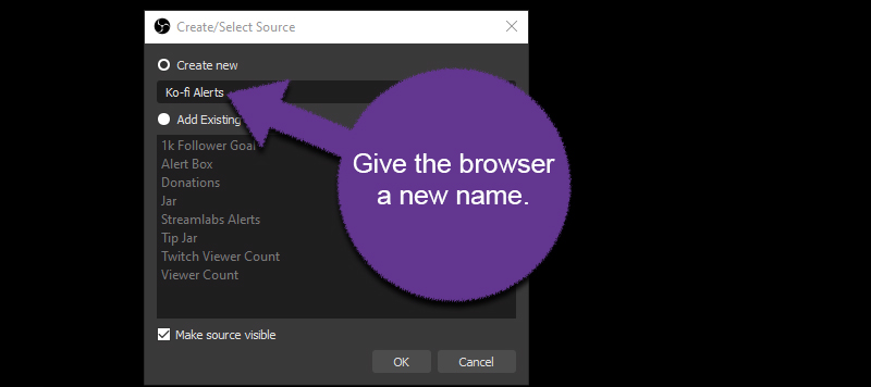 Name the Browser Source