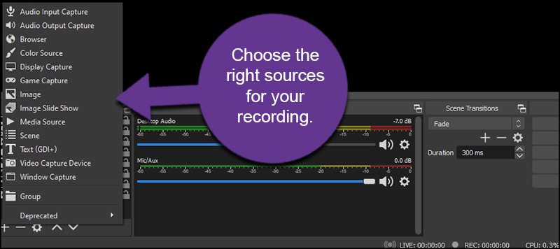Recording in OBS Sources