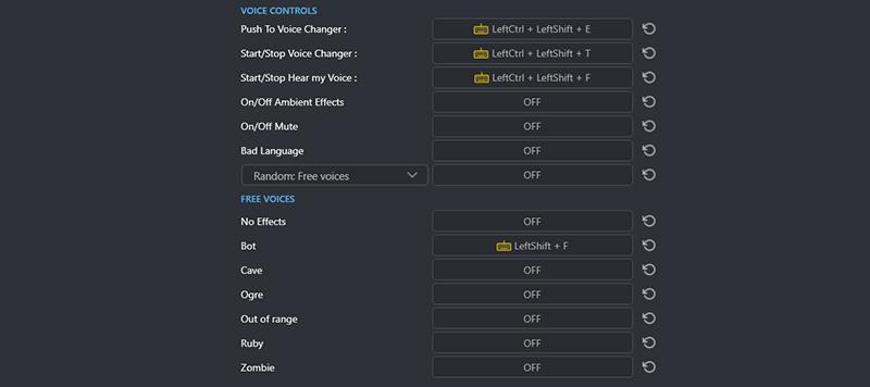 Voicemod Keybindings
