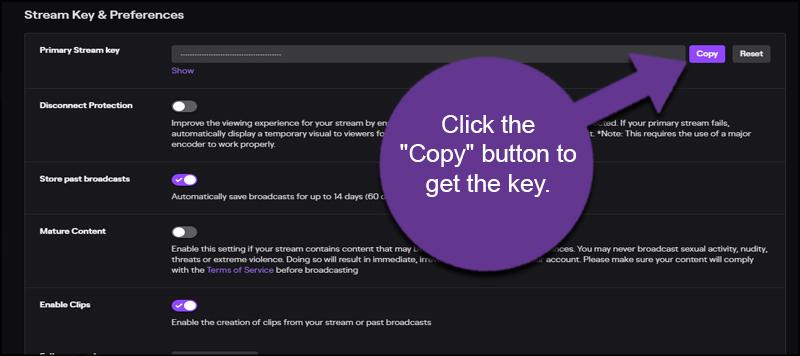 Copy Stream Key