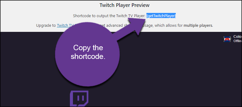 Copy Twitch Embed Shortcode