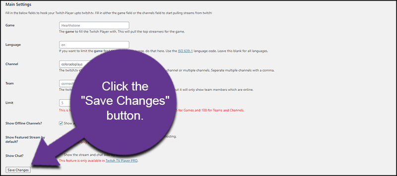 Save Twitch Embed Changes