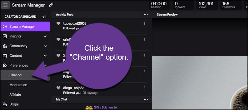 Twitch Channel Option