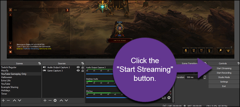 Start Streaming OBS to YouTube