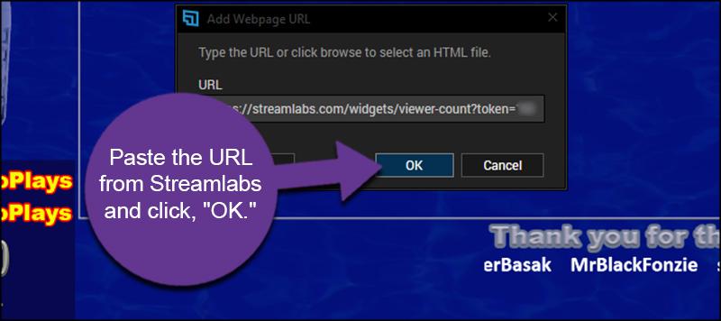 Paste Streamlabs URL
