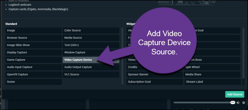 Video Capture Device Source