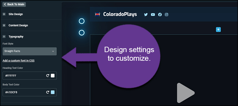 Design Settings