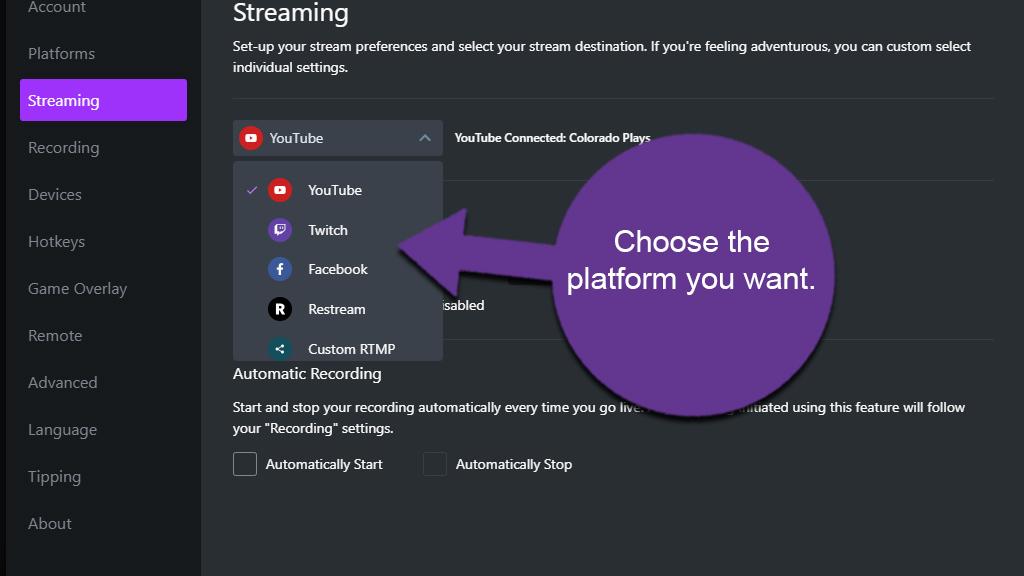 Choose Streaming Platform