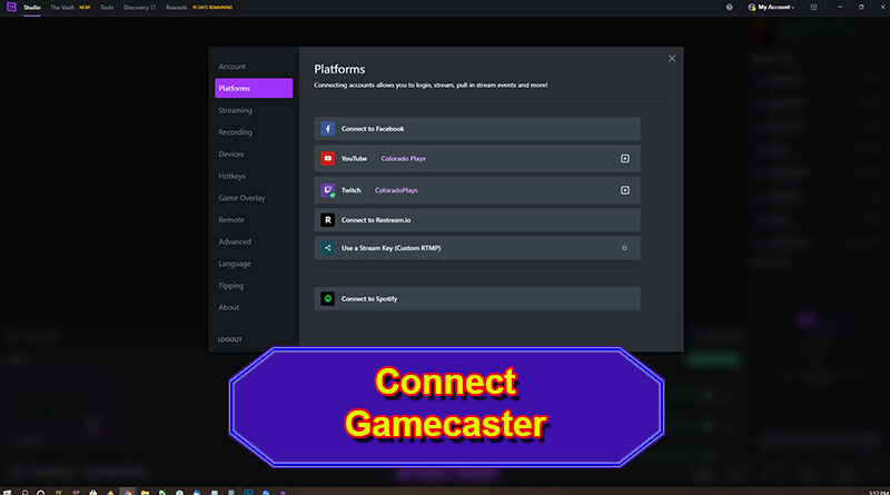Connect Gamecaster to Stream